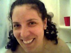 Big Tittied Hottie, gives a Handjob in a Bubble Bath - POV