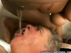 Black Mistres peeing on slave