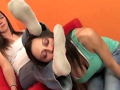 Lesbian slave worship mistress socks