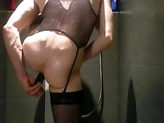 Black stockings fuck dildo