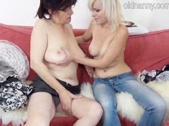 Hot old granny in hat and sexy young girl experience