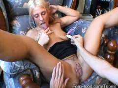 Fleshy Pussy with Big Lips Gets Hands On Treatment to Squirting Orgasms