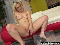 Hot blonde pees