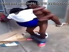 Black Teen Still Fucking this Bitch On Outside Gate