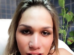 Extremely tranny doxy jerks off cock with all her skills