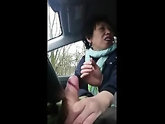 Adult Asian Handjob within the Vehicle