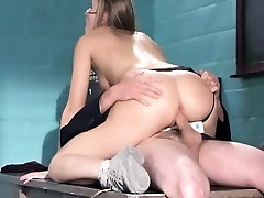 Sweet young babe takes her panties to the side and fucks a long prick