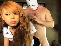 Schoolgirl ladyboy blowjob and anal doggystyle fucking