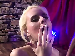 Skinny blonde gangbanged and eats lots of cum