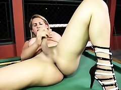 Shemale toying ass with dildo while jerking