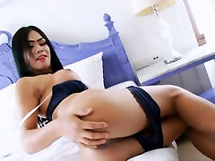 Busty shemale masturbates her hard cock