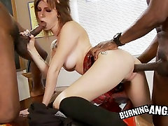 Redhead Gets Black Double teamed