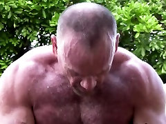 Mature bear cums tugging