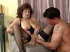 Granny in Stockings and Basque Fucks