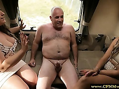 CFNM femdoms tugging their subs cock before sucking