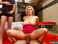 Busty mature piss soaked