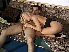 Cute young blonde with amazing tits sucks huge cock and gets her pussy drilled