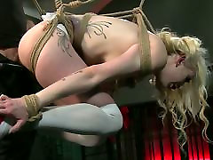 BDSM XXX Sexy blonde gets hooded and suspended