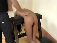 Brunette Bent Over Spanked And Sucking Cock