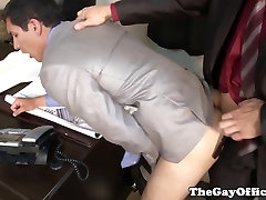 Gay office hunk sucks cock before anal