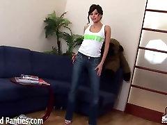 Cute teen Kriss teasing in skinny jeans