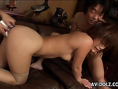 Threesome action with a busty Asian wife