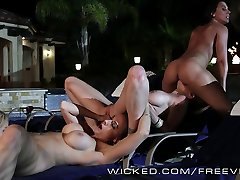 Hot lesbian milf party by the pool