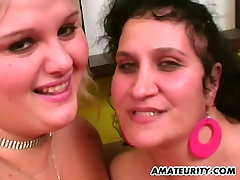 Amateur anal threesome with 2 fat housewives and cumshot