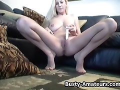Hot blonde babe Autumn playing her boobs and pussy