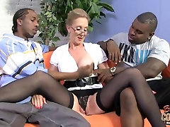 Mature nerdy MOM takes two HUGE black cocks