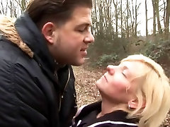 Blonde mature sex in the wood