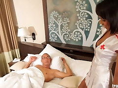 Sexy nurse shemale comes for huge cock