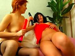 Shaved mom straponed