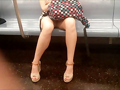 MILF legs on train